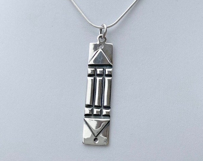 Sterling Silver Tribal Long Pendant on Your Choice of SP Snake Necklace Chain 16 Inch 18 Inch or 20 Inch - Great Look with Tees, Tops, Boho