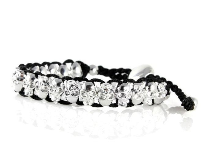 Halloween Skull Bracelet High Polish Chrome Unisex on Woven Cord, Adjustable Pull Through Clutch Clasp Men, Women, Teenagers, Boys and Girls