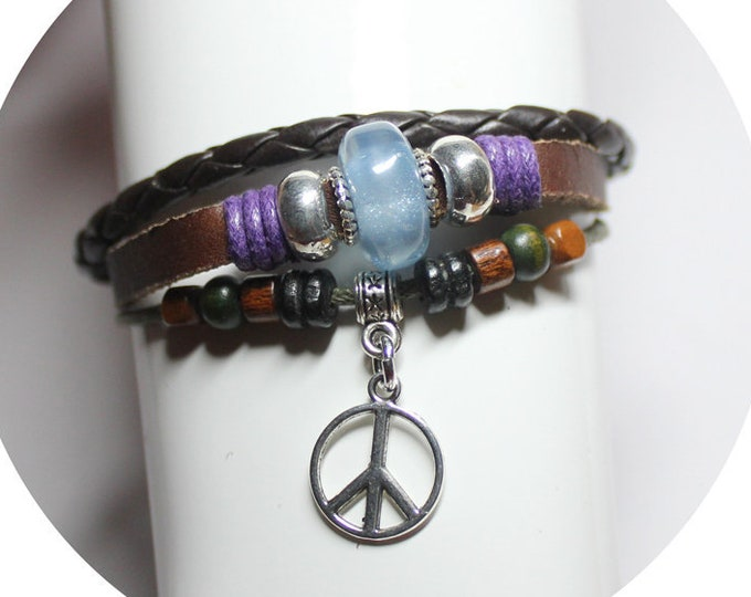 CHOOSE CHARM Genuine Leather Bohemian Multi Strand Bead Bracelet Adjustable CHOOSE Peace Sign, Cross, Celtic Fleur , Mom Heart, Tree of Life
