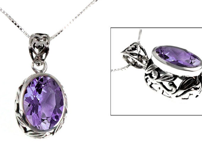 Oval 6 ct. Amethyst Pendant Sterling Silver Bezel Set Leaf Design with Necklace Chain, February's Birthstone & 6th Year Anniversary Gemstone