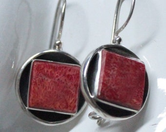 Square Red Coral Sterling Silver Earwire Earrings