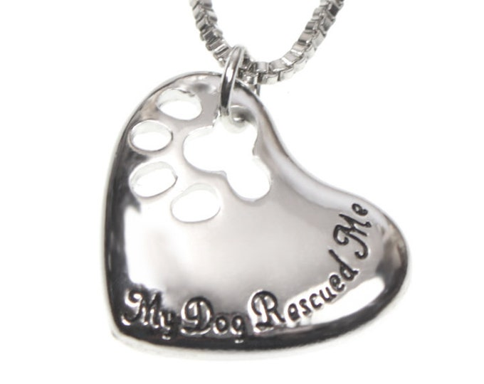 "My Dog Rescued Me Paw Print Heart Pendant 18"" Necklace - Dog Pet Rescue Jewelry"