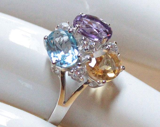 Blue Topaz, Citrine, Amethyst Gemstone Sterling Silver Ring
