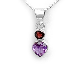 Amethyst and Garnet Gemstone Pendant in Sterling Silver January and February Birthstone Gemstone Necklace Includes SP Chain