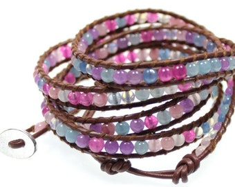 Handcrafted 5x Wrap Bracelet in Brown Leather With Pink Purple Blue Violet Agate Beads Handsewn Extra Long Length to Wrap 5 Times Around