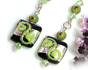 Green Swirl Lampwork Bead Dangle Earrings with Sterling Silver Accented With Watermelon Beads, Exclusively from Beautiful Silver Jewelry