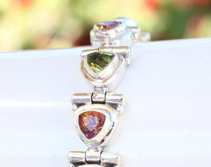 Trillion-Cut Mystic Topaz Sunrise Orange Fire and Peridot Gemstone Bracelet in 925 Sterling Silver from Beautiful Silver Jewelry