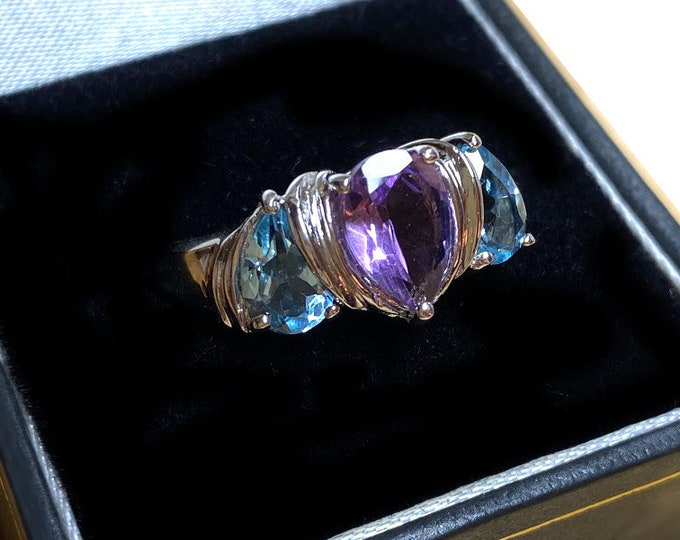 Amethyst and Blue Topaz Sterling Silver Ring in Size 8