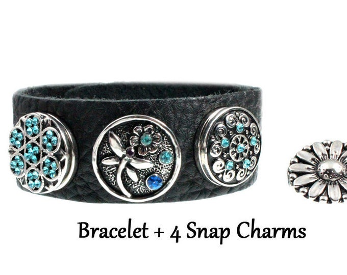 Dragonfly Snap Charm Leather Bracelet with FOUR mix of snap charms - chunk buttons - ginger snaps - blue crystal flower SNAP jewelry charms