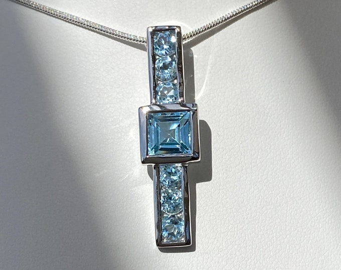 "Sky Blue Topaz Square-Cut Larger Size 1.5"" Tall Pendant - Sterling Silver Designer - December Birthstone - Year 4 Anniversary Gemstone"
