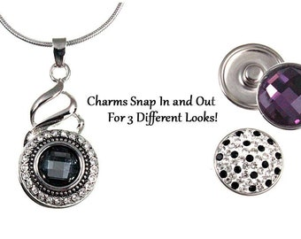"""Crystal Snap Charm Necklace with 3 snap charms - 18"""" chain - chunk buttons - ginger snaps - interchangeable jewelry - SNAP noosa style chunk"""