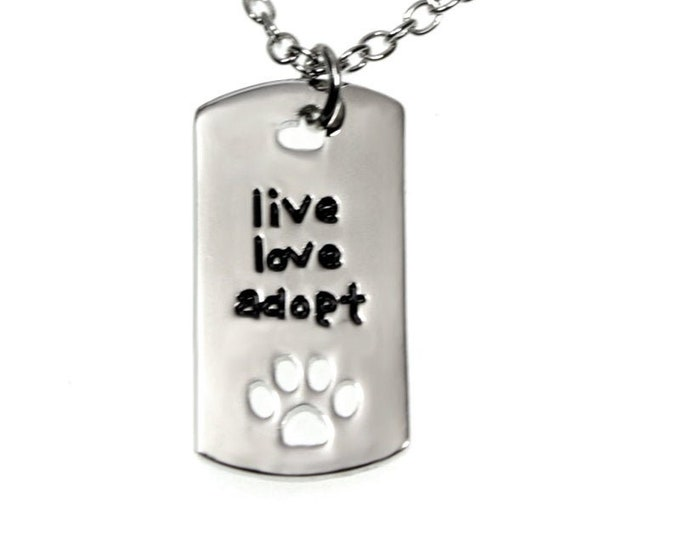 Live - Love - Adopt Paw Print Pendant Necklace - 18 Inch Link Chain + 2 Inch Extender - Dog and Cat Pet Animal Rescue Jewelry