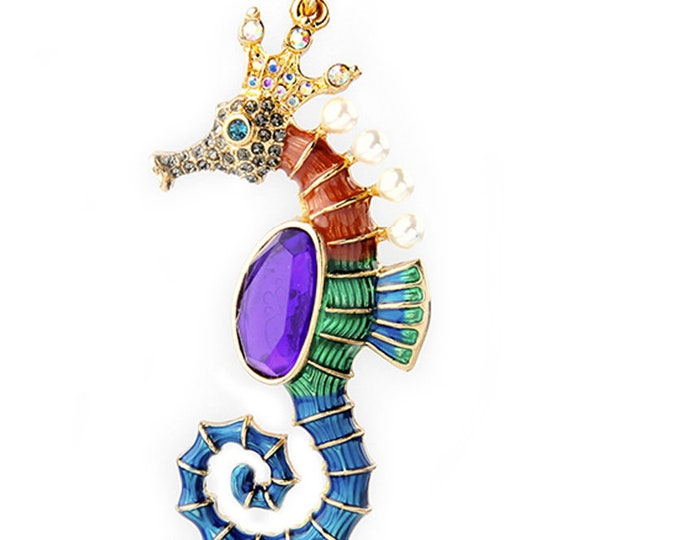 Seahorse Colorful Goldtone Pendant Necklace 27 Inch Long Chain Plus 3 Inch Extender