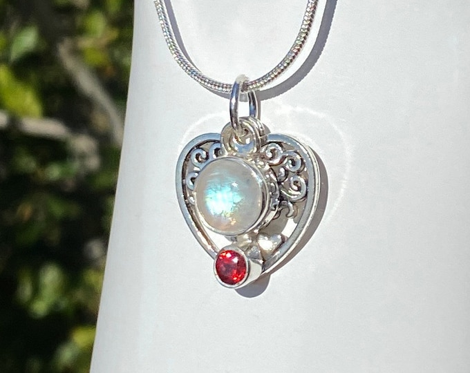 Moonstone and Garnet Sterling Silver Pendant with Tree of Life Heart Charm Necklace June & January Birthstones on SP Snake Chain