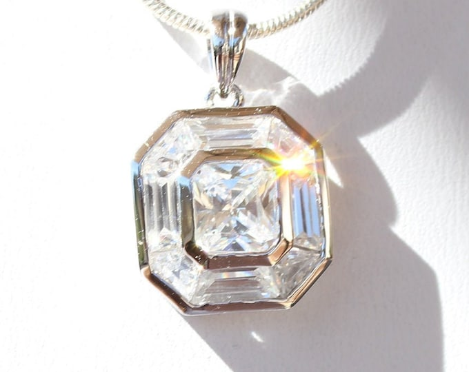 5 Colors - Brilliant CZ Pendant with Lilac, Champagne, Red, Clear or Yellow Center Stone Cubic Zirconia Sterling Silver - Plus Choose Chain