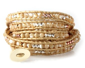 Mother of Pearl 5x Wrap Leather Bracelet, Quality Hand-sewn Bracelet on Gold Leather with Nugget Beads, Womens Jewelry in Gift Box