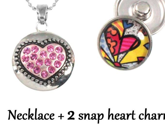 Heart snap charm necklace with 2 snap charms - 30 inch long chain chunk buttons ginger snaps - interchangeable jewelry - SNAP jewelry chunk
