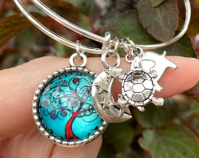 Tree of Life Charm Bracelet with Moon, Elephant and Turtle Charms, Slide Bangle Bracelet Fits All Wrist Sizes