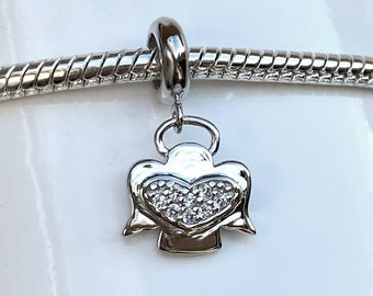 Sterling Silver Angel Heart Bracelet Charm - European Style Slide On Large Hole Bead Charm with Sparkling CZ for Bracelet or Necklace