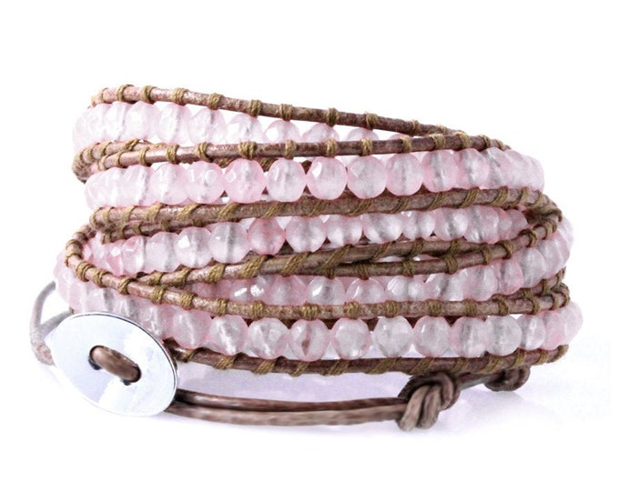 Rose Quartz 5x Wrap Bracelet, Quality Hand Sewn Pink Bracelet on Tan Brown Leather, Fits Up To Large and Plus Size Wrists