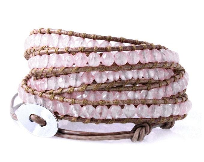 Pretty Pink Faceted Rose Quartz 5x Wrap Bracelet, Gorgeous Quality Hand Sewn Bracelet on Tan Brown Leather, Teen Women Gift Bohemian Bangle
