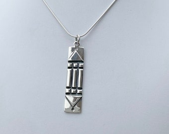 Sterling Silver Tribal Long Pendant on Your Choice of 16, 18 or 20 Inch SP Snake Chain - Great Necklace for Tees, Tops, Bohemian Styles