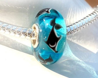 Dolphin Bead on Aqua Turquoise Blue Glass - 925 Sterling Silver Slide On Bead For European Snake Chain Charm Bracelets - Save on More