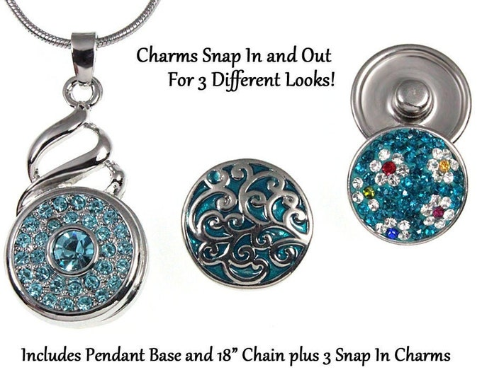 Blue Crystal Snap Charm Necklace With 3 Interchangeable Snap Chunk Charms - 18 in. chain - chunk buttons - ginger snaps - noosa style charms