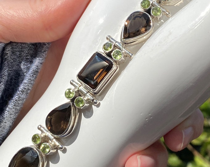 Smoky Topaz and Peridot Gemstone Bold Bracelet Handcrafted in 925 Sterling Silver, Adjustable Toggle from 7.5 to 8.5 Large to Plus Size