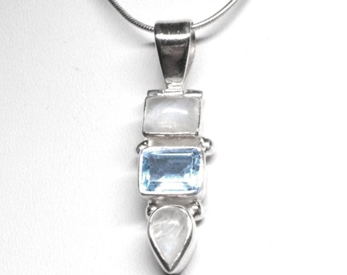 Sky Blue Topaz and Rainbow Moonstone Gemstone Pendant Sterling Silver