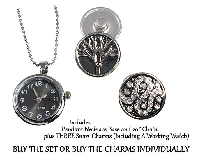 Gray Watch, Tree, Crystal Swirl Snap In Charm Necklace SET OR buy individually - chunk buttons - ginger snaps - noosa button snap jewelry