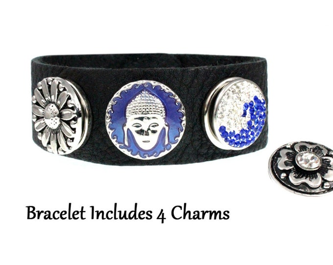 Buddha Flower Wave Snap Charm Black Leather Bracelet with FOUR snap charms - chunk buttons - ginger snaps - noosa style snap jewelry set