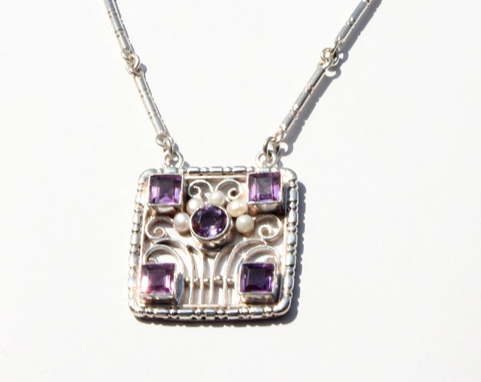 Amethyst Pendant Sterling Silver Necklace and Pearls w Handcrafted Link Chain