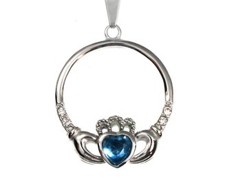Celtic Pendant Necklace Heart and Hand Design with Faceted Blue Heart