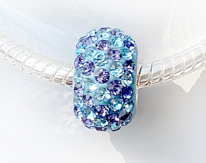 Sky Blue and Purple Stripe Crystal Bead Charm - Sterling Silver Interior Slide On Bead For European Style Charm Bracelets, Save on More