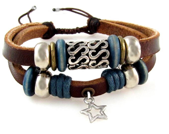Genuine Leather Boho Bracelet CHOOSE CHARM Unique Adjustable Drawstring, CHOOSE Star, Cross, Celtic Fleur De Lis, Mom Heart, Tree of Life