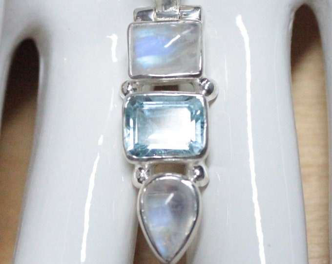 Sky Blue Topaz and Rainbow Moonstone Pendant Necklace Genuine Gemstones Sterling Silver Emerald Cut Exclusively fm Beautiful Silver Jewelry