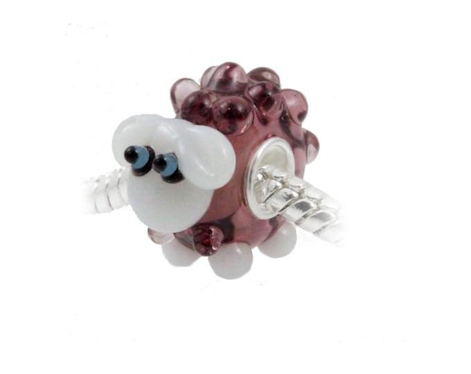 Darling Lamb Lampwork Glass Bead - 925 Sterling Silver Interior Slide On Sheep Bead For European Style Snake Chain Charm Bracelets
