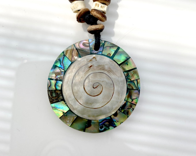 Iridescent Inlaid Swirl Shell Round Necklace, Adjustable Length 18 to 35 inches Perfect for Summer, Hawaii, Island, Resort, Casual Fasions