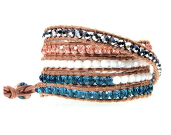 Hematite Gemstone, Peach and Blue Crystal Bead 5x Wrap Bracelet Hand Sewn on Genuine Tan Leather