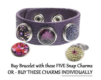 Purple Crystal Snap On FIVE Charm Leather Bracelet OR buy charms individually - chunk buttons - ginger snaps - noosa button snap jewelry