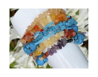 SALE 18. Chunky Gemstone Multi Strand Bracelet, Adjustable Size Fits Medium to Plus Size Wrists, Women's Colorful Bracelet