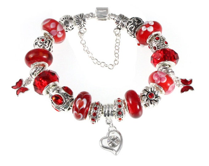 Red Butterfly Crystal Heart Lampwork Bead Charm Bracelet - Choose Adjustable Snake Chain - Handcrafted