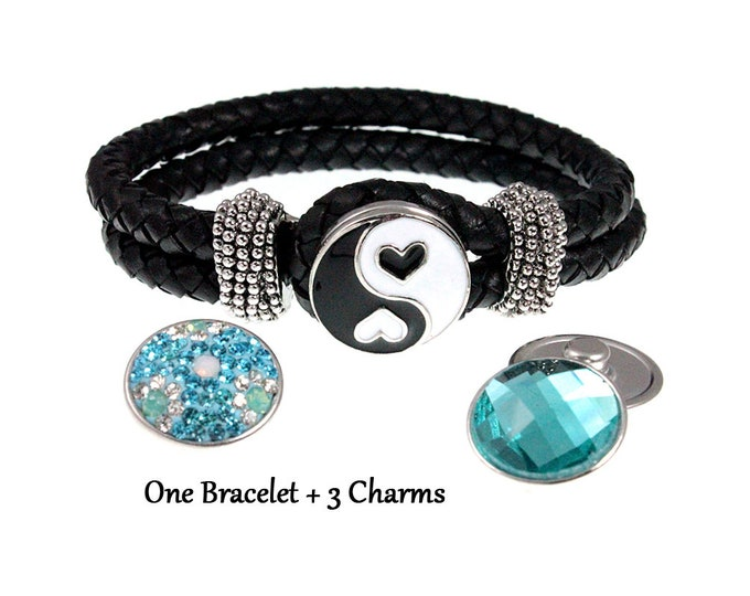 Braided Black Leather Snap Charm Bracelet with Up To Three 18-20 mm Snap Button Charms Included