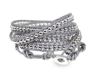 Silver Leather and High Polish Bead 5x Wrap Bracelet, Hand Crafted Quality XL Wrap Bracelet Fits Up To Plus Size, Exclusive from BSJ
