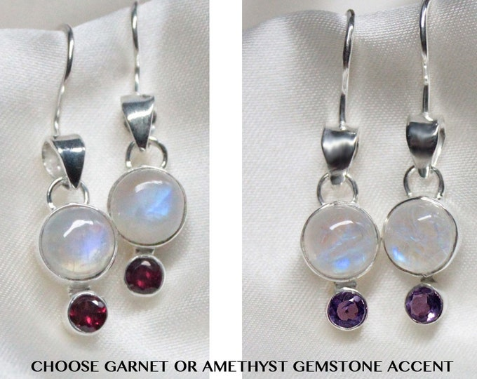 Moonstone Sterling Silver Earrings with Garnet or Amethyst Gemstone Accent