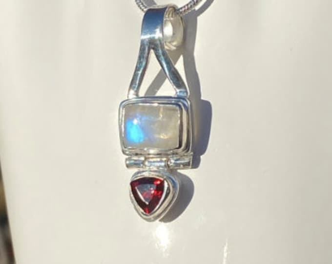 """Moonstone and Garnet Gemstone Pendant Sterling Silver Necklace Birthstone Jewelry on 16"""" or 18"""" SP Snake Necklace Chain"""
