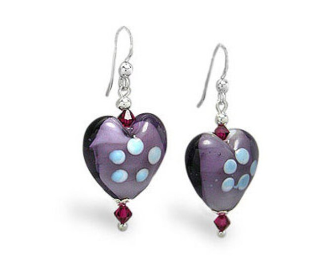 Purple Glass Heart Earrings with Color Accent Glass Beads on Sterling Silver Earwires, Handblown, Handcrafted Glass Earrings