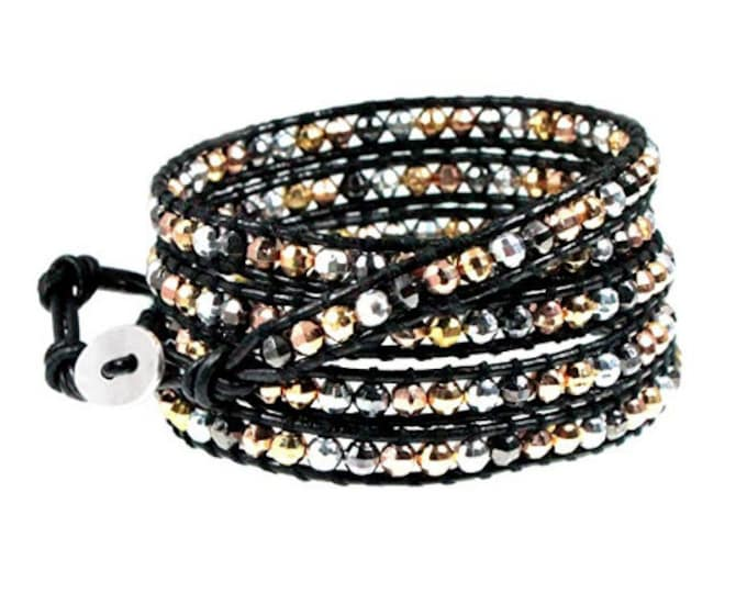Metallic Bead Mix 5x Wrap Bracelet on Black Leather Hand Crafted Extra Long Length, Quality Hand-Sewn Bracelet Makes The Perfect Gift