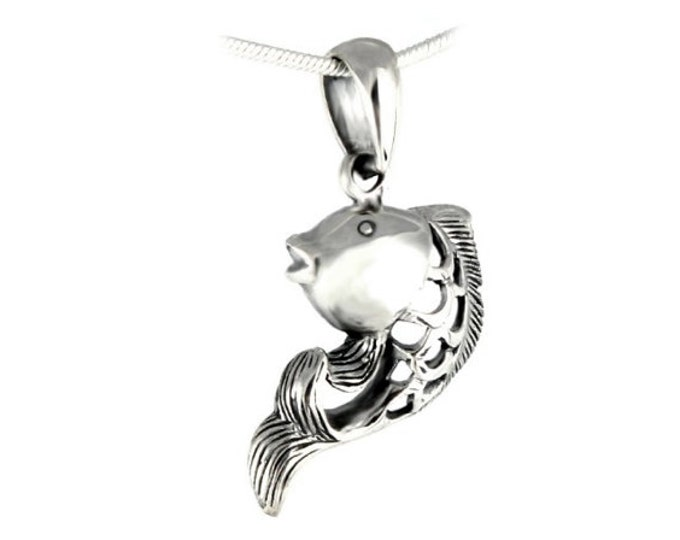 "Unique Fish Pendant 925 Sterling Silver Koi Fish Pendant Necklace, Men and Womens, Boys and Girls Necklace with 16"" 18"" 20"" 22"" 24"" chain"
